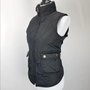 Black Puffer Zip Up Puffy Vest Gold Buttons XL
